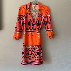 Julie Brown neon geometric wrap dress, size Small